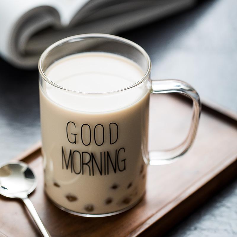 北欧玻璃杯家用水杯带把杯子good morning早安杯果汁牛奶杯咖啡杯热销85件限时抢购