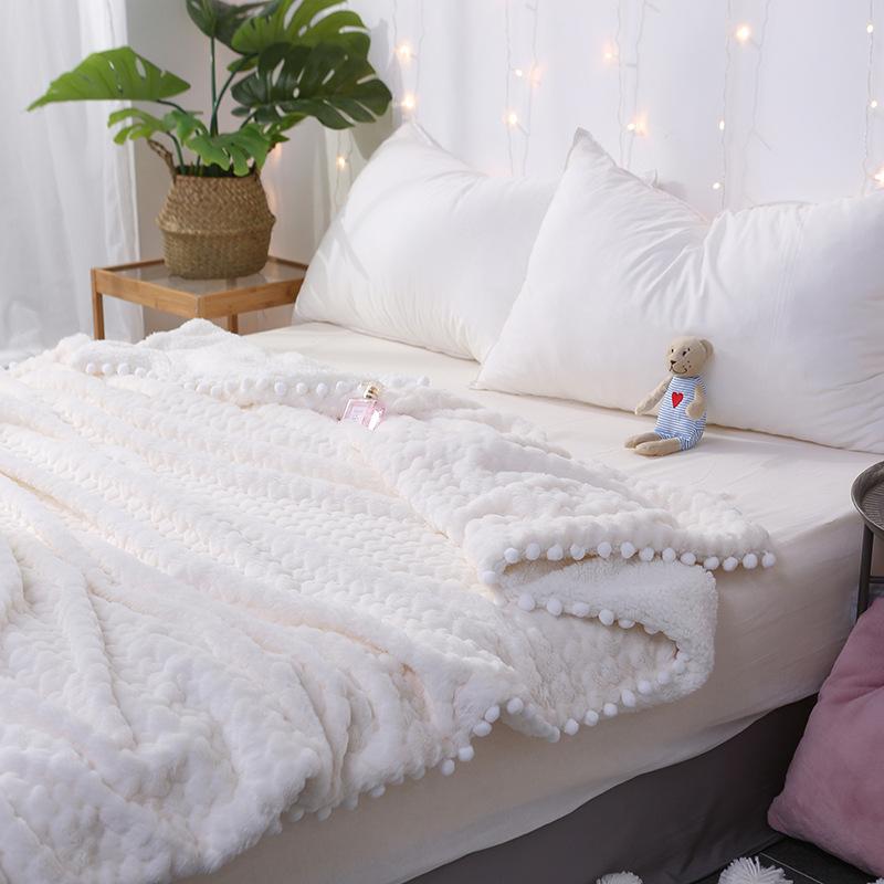 ins公主风可爱仿兔兔绒毛毯双层加厚羊羔绒毯子珊瑚绒午休小毯子