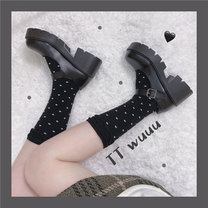 TTWuuu@ 厚底增高复古风白色玛丽珍小皮鞋女日系jk制服鞋圆头可爱
