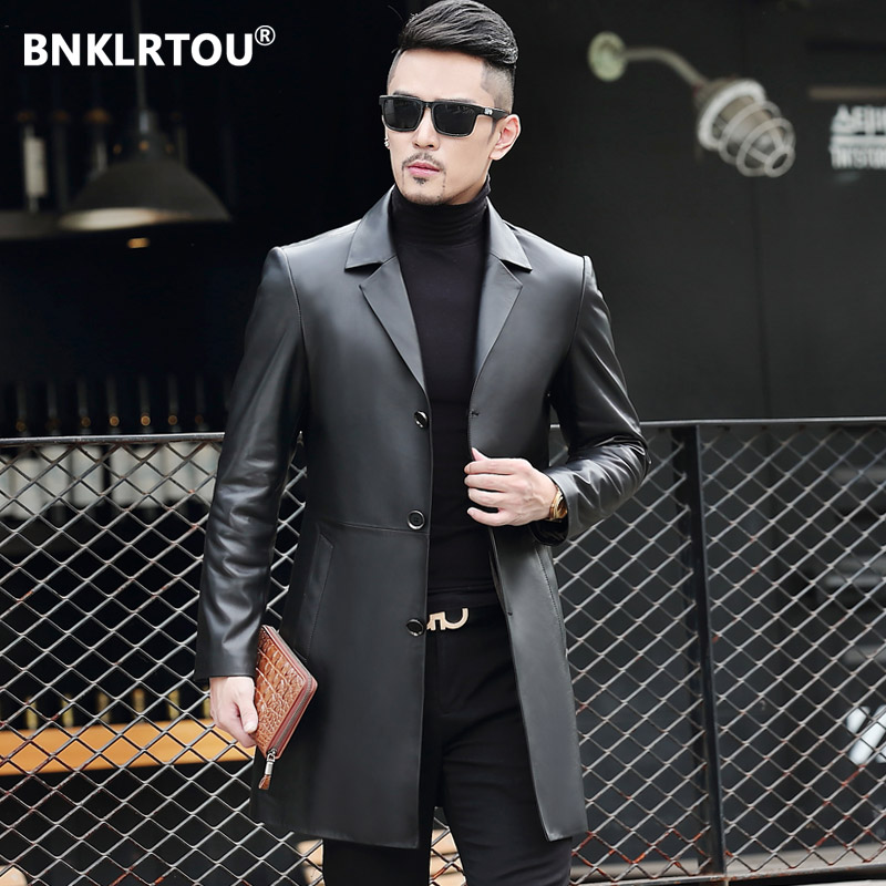 Autumn genuine leather coat Men's windbreaker Haining sheep's handsome leather windbreaker medium-long leather jacket jacket suit collar
