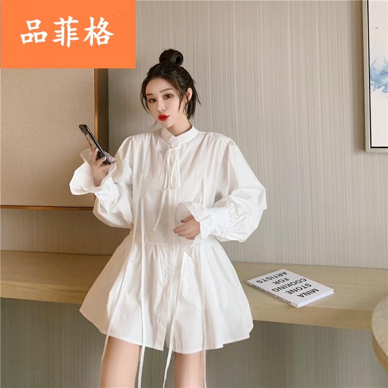 网红港风绑带白色衬衫裙女设计感小众外穿百搭中长款早秋显瘦上衣