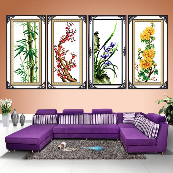 Новые крестом новый большой гостиной сливы, орхидей, бамбуковые и хризантемы печатает крестом серии вертикальных большой гостиной