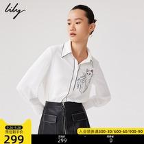 LILY2021秋新款女装撞色猫咪字母绣花通勤垂感长袖白色雪纺衬衫