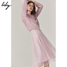 Lily's new autumn 2009 women's wear asymmetrically stitched lazy sweater two-piece suspender gauze dress 7914