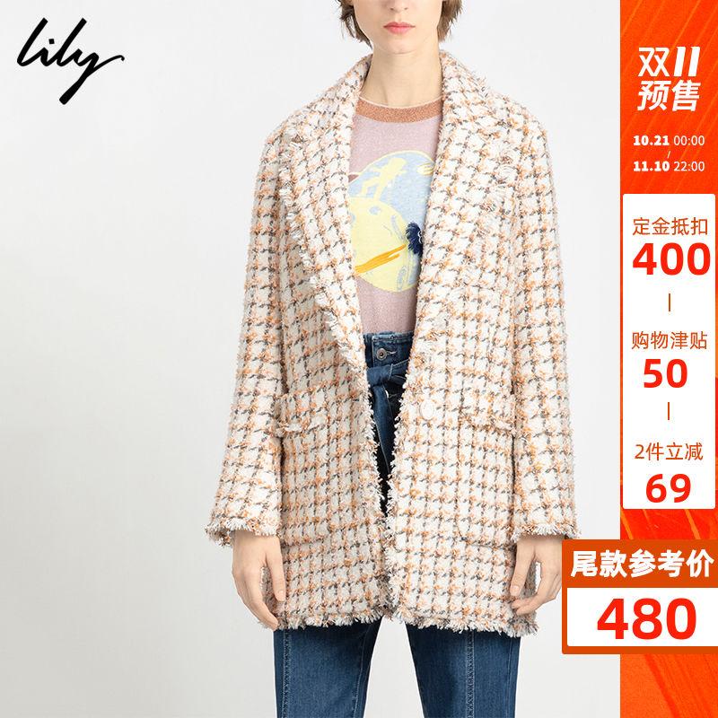 预定Lily2019冬新款格纹翻领大衣宽松中长款小香风毛呢外套1916 thumbnail
