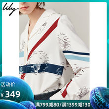 Pre-sale Lily 2019 Autumn New Women's Heart Machine Suit Collar Printing Loose Long Sleeve Temperament Chiffon Shirt 8965