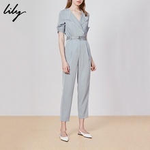 Lily 2019 Summer New Women's Wear Handsome Business Turn-collar Colour, Slim Workwear Pants 7905
