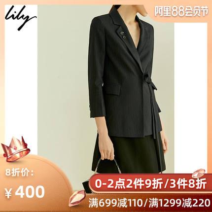 Lily2019夏新款条纹不对称绑带中长款修身黑西装女119220C2158
