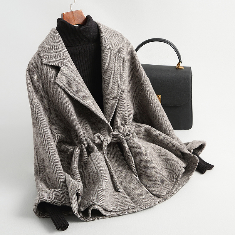 Short lace up womens Woolen tweed spring and autumn small double faced overcoat cashmere waistband thousand bird check mother coat