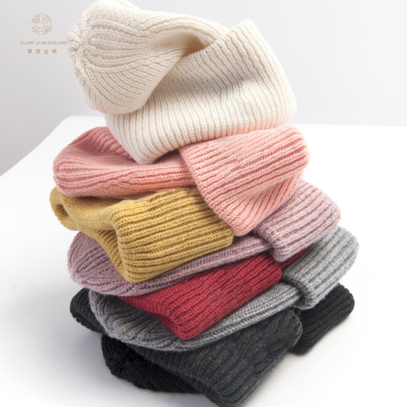 草原全荣羊毛帽子女秋冬季毛线帽韩国保暖针织帽简约包头帽套头帽
