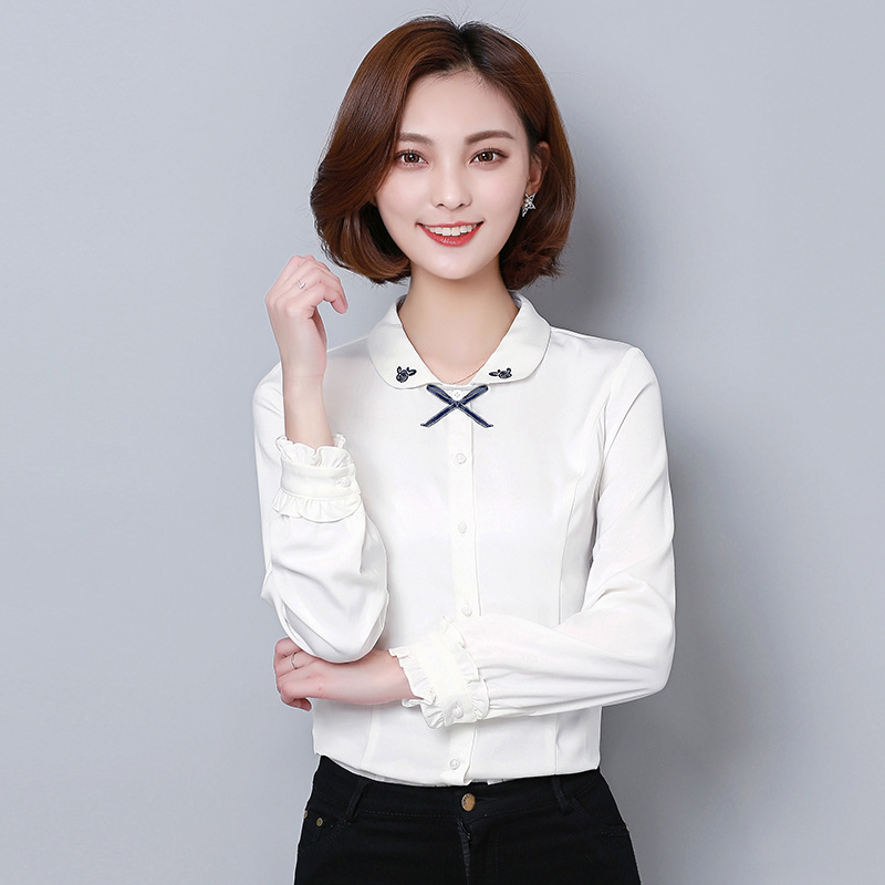 Solid color shirt womens long sleeve 2018 spring new embroidery art self-cultivation versatile professional fashion shirt women