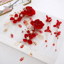 中式新款新娘结婚头饰仙美红色头花精致发夹边夹婚礼敬酒服发饰品