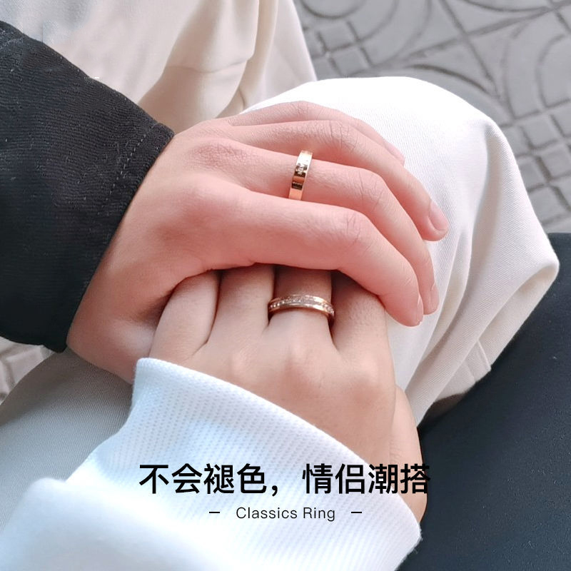 Right half minority ring male and female personality lovers pure silver ring pair ring Star Ring Gift official website
