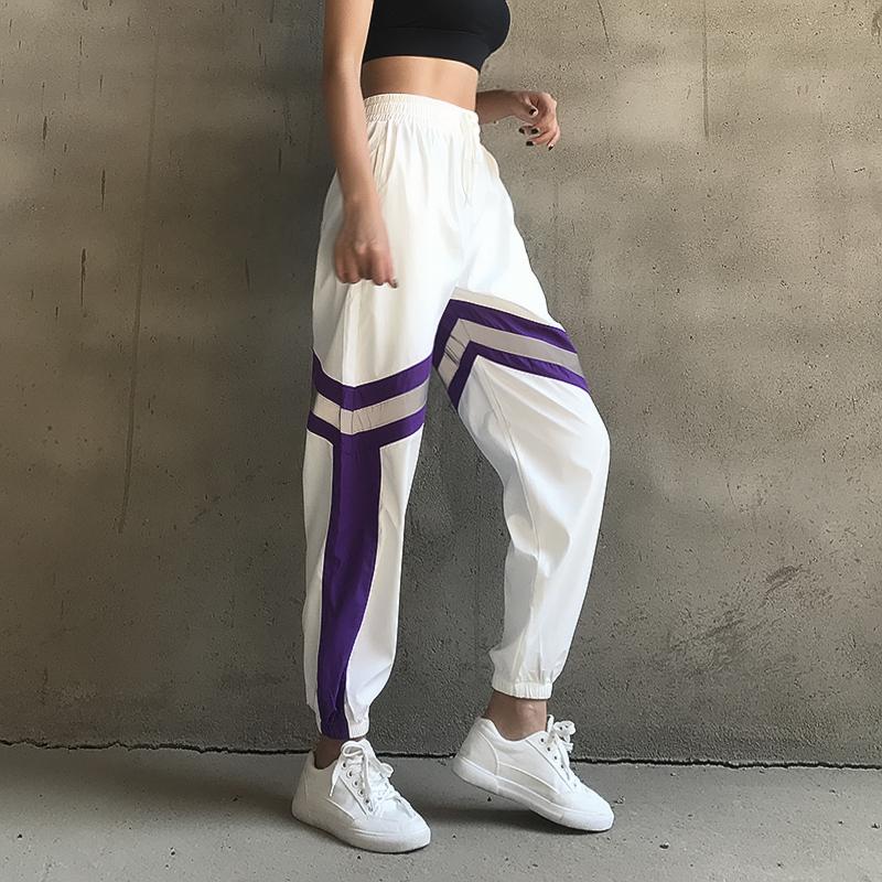 闪光运动裤女宽松大码休闲束脚收口裤健身跑步速干裤高腰瑜伽长裤(非品牌)