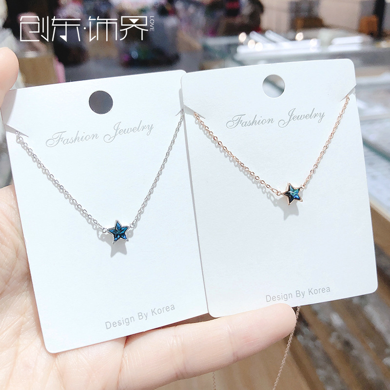 Cool wind clavicle chain sea blue zircon five pointed star necklace girl gem Japan and Korea star Sun Moon cloud