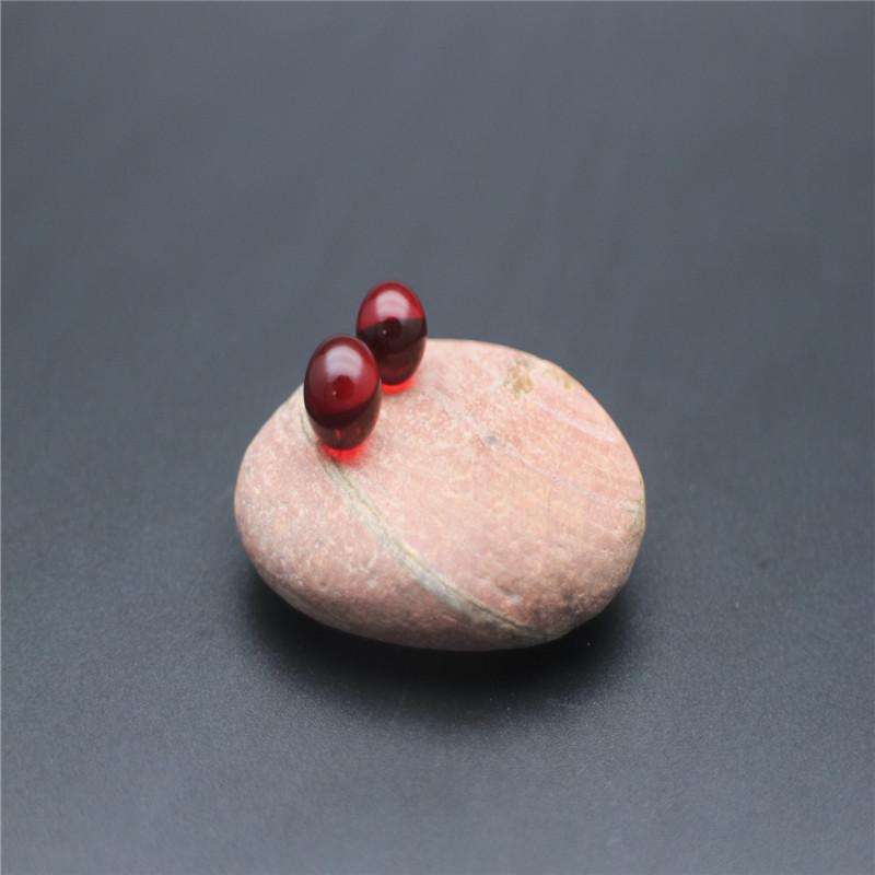 血珀圆珠单珠耳环戒指吊坠纯天然无优化缅甸琥珀樱桃红圆珠