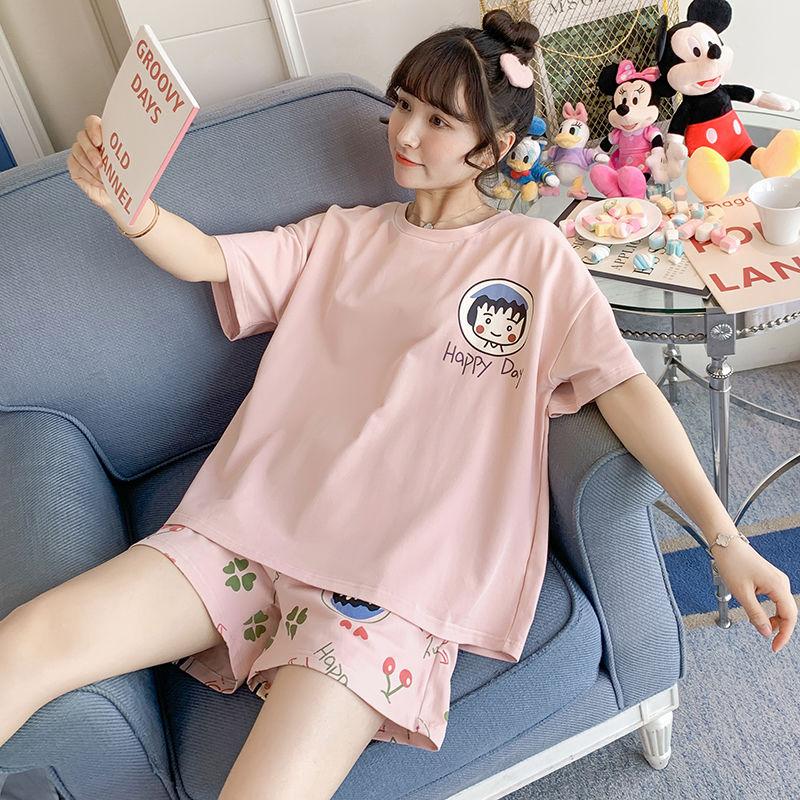 63睡衣女夏季套冰丝学生韩版宽松女士短袖短裤可爱夏天外出家居服