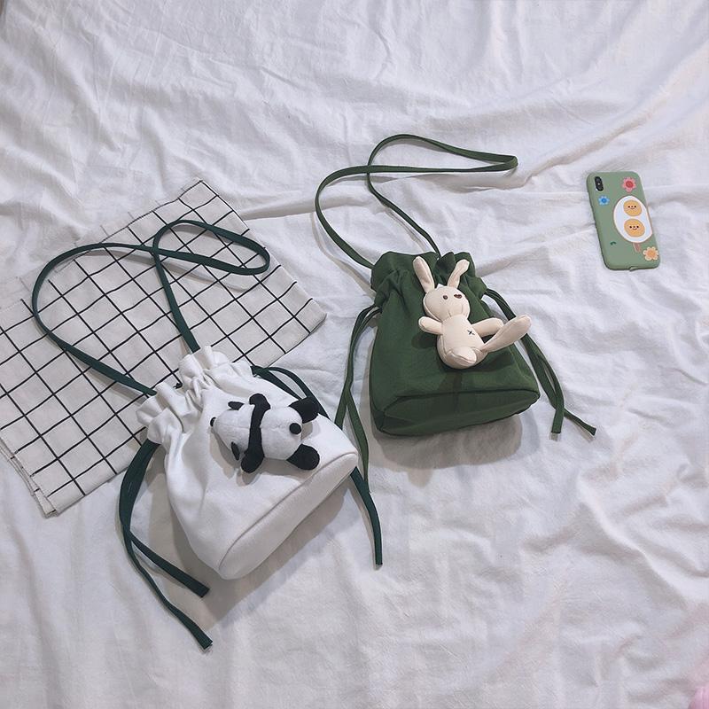 韩国ins可爱少女帆布小水桶小包包(用1元券)