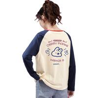 米子旗长袖T恤女春秋新款撞色圆领套头打底衫宽松字母印花上衣薄