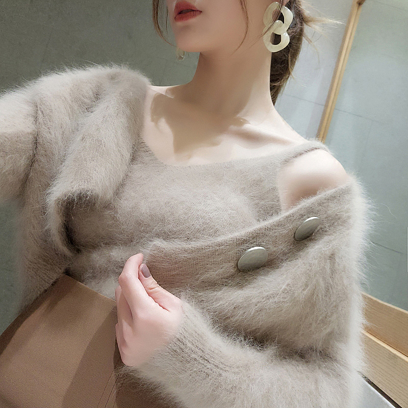 Autumn and winter new Korean chic fashion mink sweater cardigan jacket set womens two piece sleeveless suspender vest
