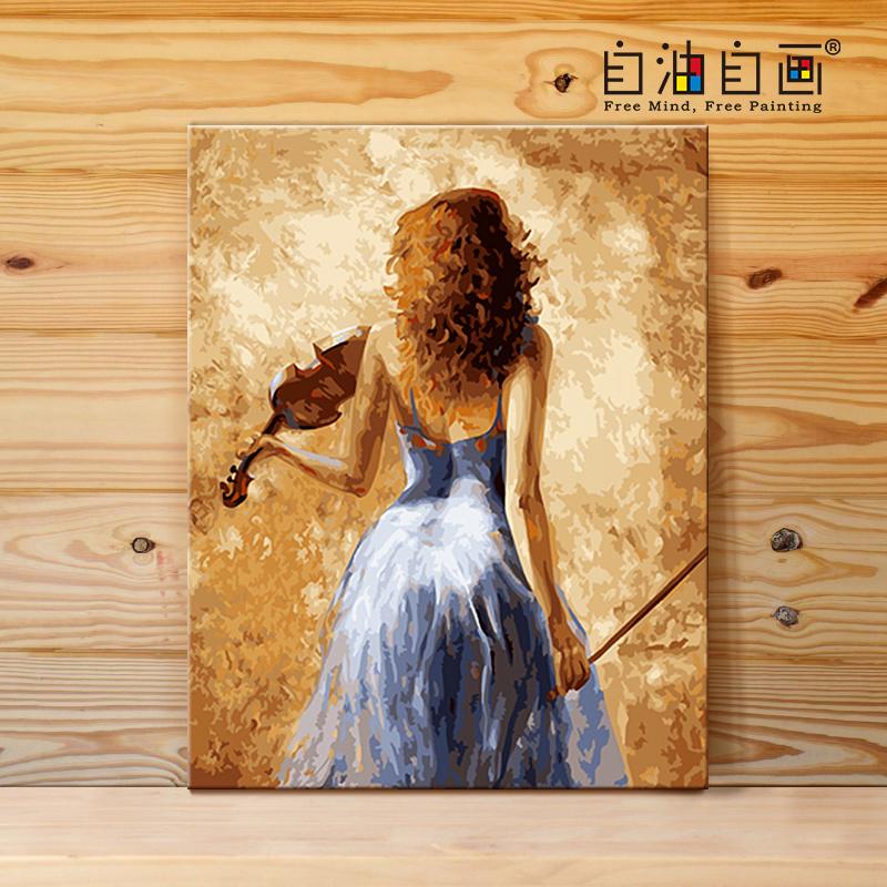 diy大幅客厅人物手绘填色油彩涂色装饰画自油自画数字油画40x50