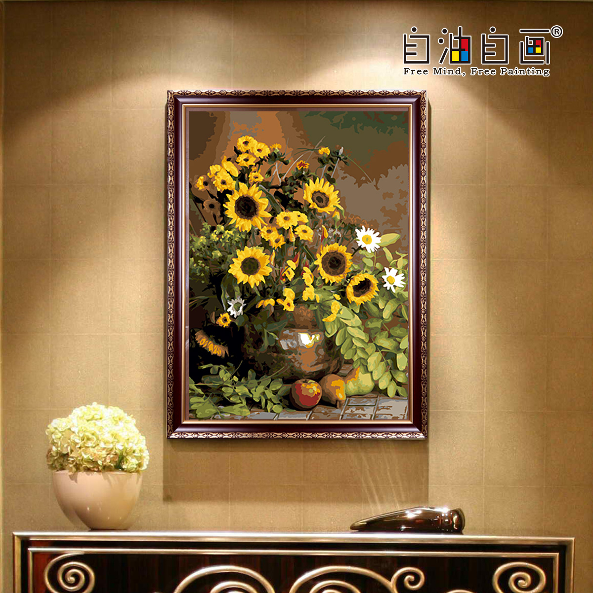 diy大幅客厅花卉风景手绘填色装饰画自油自画数字油画生如夏花