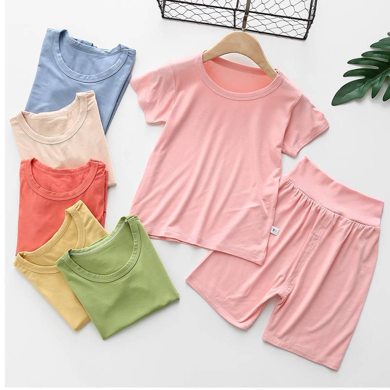 中國代購|中國批發-ibuy99|家居服男|2021夏季新款儿童莫代尔短袖T恤男女童套装宝宝高腰家居服俩件套