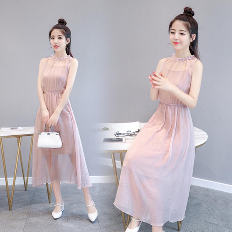 2018夏季新款无袖雪纺气质淑女粉色长裙女装韩版修身显瘦连衣裙潮