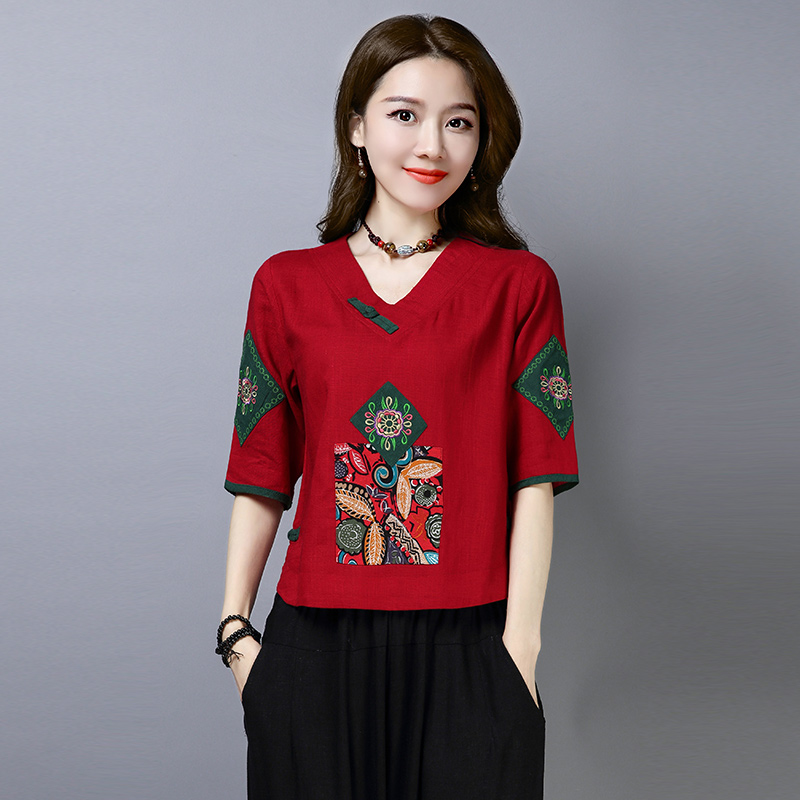 (用19元券)2019春夏女装新款民族风贴布绣花宽松棉麻大码五分袖上衣衬衫T恤