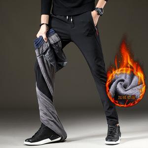 2019秋季男士运动加绒加厚保暖休闲裤宽松裤子男裤舒适修身直筒裤