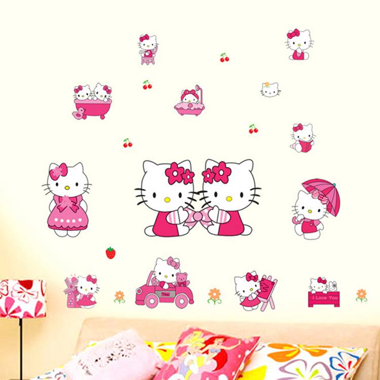 凯蒂猫 kitty墙贴卧室温馨儿童房卡通房间装饰品床头贴画墙上贴纸