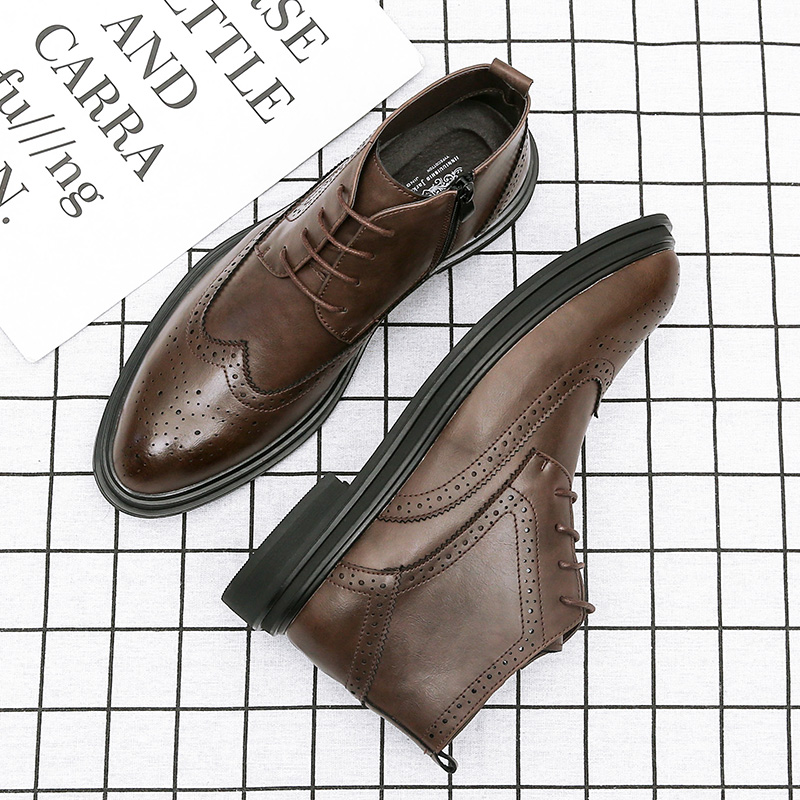 Spring Martin boots mens Plush warm boots retro mens high top shoes British Chelsea boots fashion leather boots man