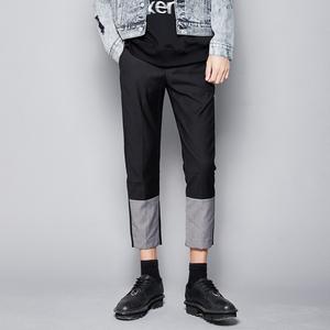隐制原创男装原创撞色拼接修身小脚九分裤 英伦锥形西装裤9分西裤