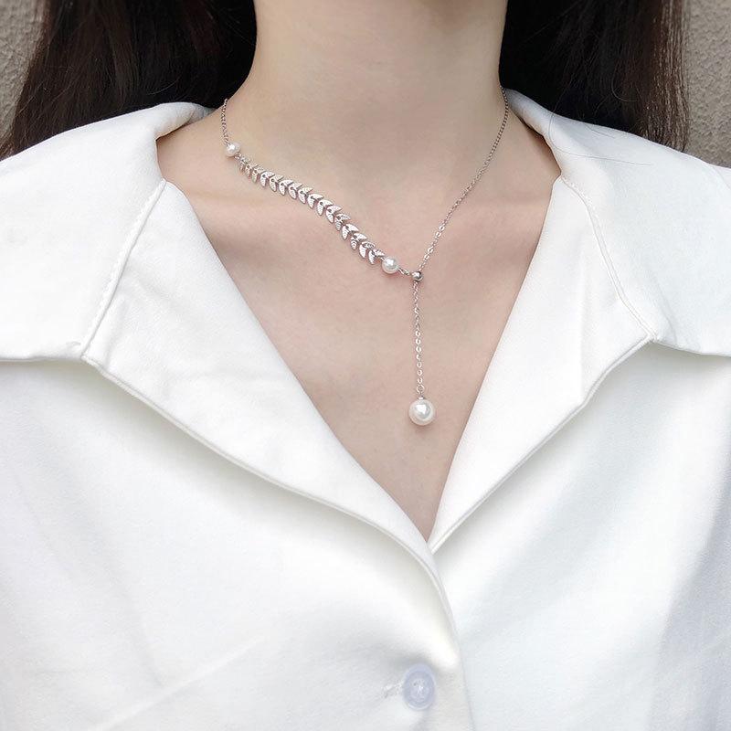 2020新款S925通体纯银个性气质百搭锁骨链麦穗珍珠项链女