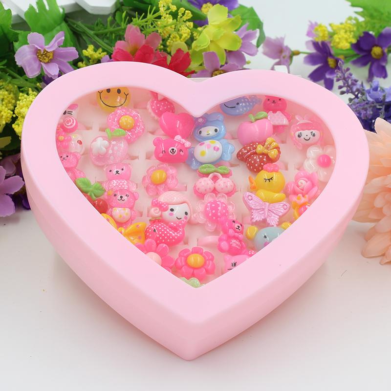 韩国儿童戒指 可爱卡通爱心盒小女孩礼物一盒公主指环饰品配饰