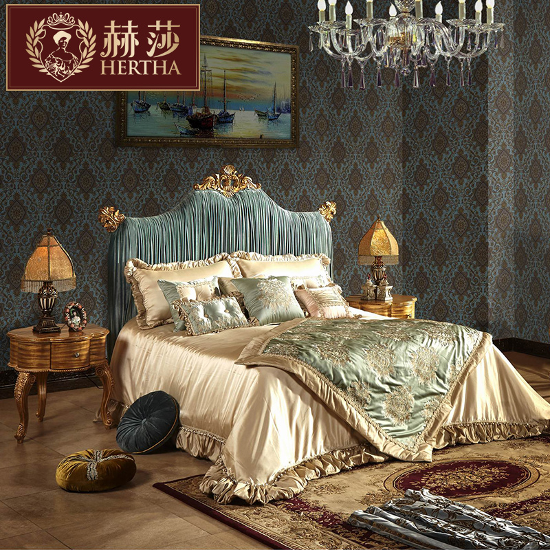 Герц крахмал саго французский мебель TJ континентальный новый классическая ретро дерево ткань резьба двуспальная кровать брак кровать 1.8 метр RT