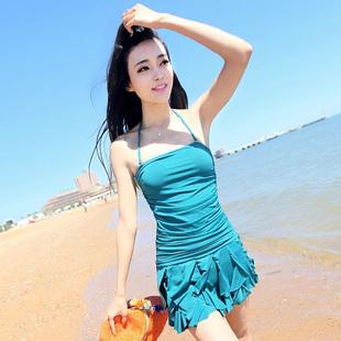 奢奇游泳衣女 连体裙式聚拢遮肚显瘦温泉泳装