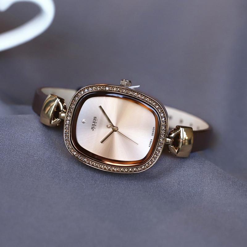 韩国品牌聚利时简洁复古表韩版时尚女表水钻时装表皮带手表女正品