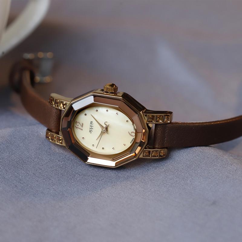 julius聚利时女表小巧细皮带手表女士腕表水晶切割OL贝壳面水钻表