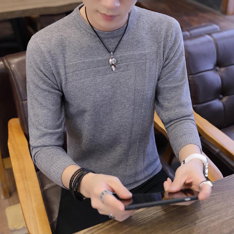 新品男装2018秋冬男士纯色圆领长袖t恤针织衫体恤修身打底衫上衣