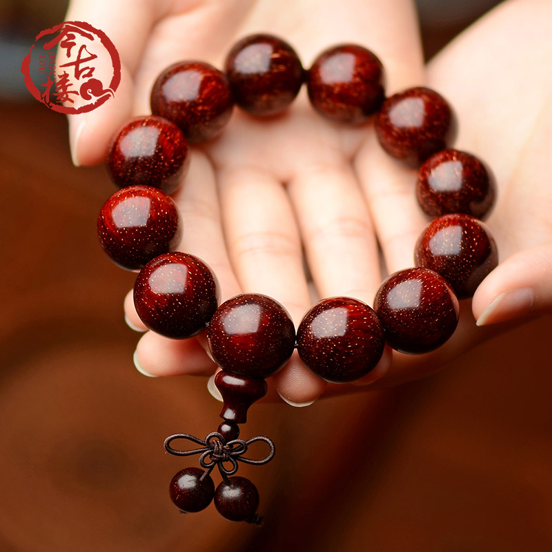 Ancient building, India wild old material, full of Venus, small leaves, Red Sandalwood Hand strings, 2.0 men and women's culture and playing mahogany Buddha beads, 18mm