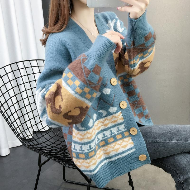 4 womens sweater cardigan womens Spring Festival new style autumn V-Neck Sweater Jacket Women Wear spring and autumn fashion