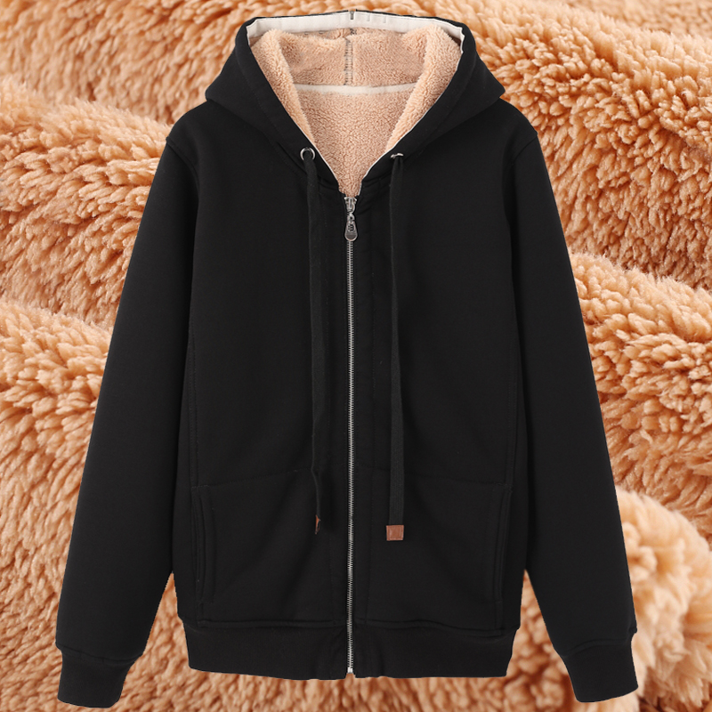 Plus fat plus size fat sister loose plus Plush plus thick sweater womens wear winter medium and long hooded Cardigan Jacket Women