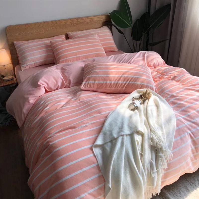 网红无印牛奶绒四件套床上用品四件套床单法兰绒加厚珊瑚绒双面绒