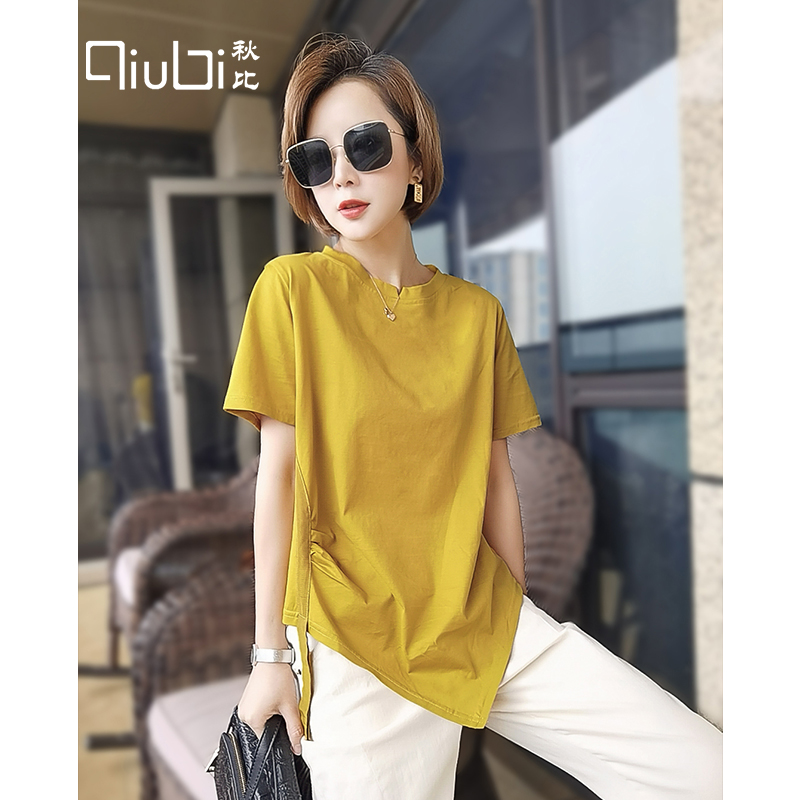纯棉短袖t恤女2020年夏季新款韩版宽松不规则上衣短款黄色体恤潮