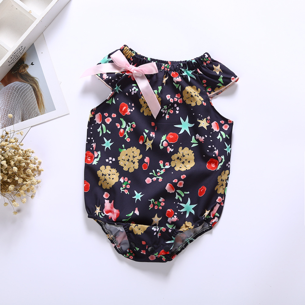 Baby clothing big flower fashion modeling girl baby lady one-piece dress broken flower triangle climbing suit photo suit