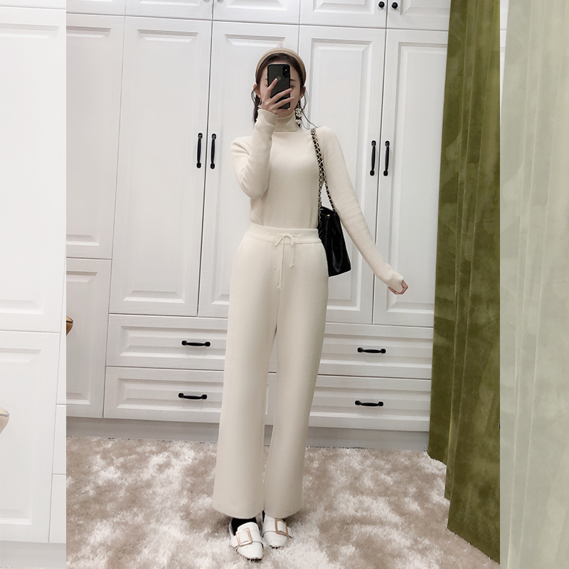 New double faced cashmere knitted wide leg pants for women in autumn and winter 2020