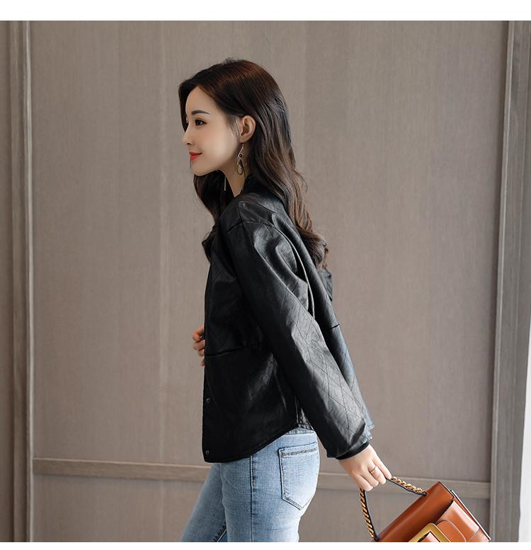 Korean fashion spring and autumn small coat PU leather round collar casual thin diamond lattice leather jacket jacket