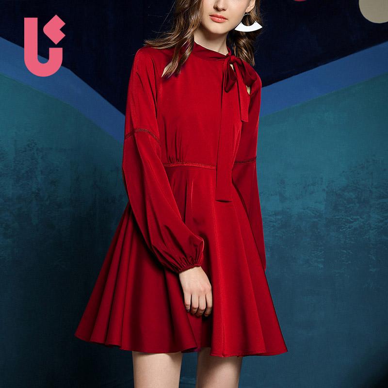 2018春季新款复古红色灯笼袖可爱系带显瘦a字裙淑女连衣裙女短裙