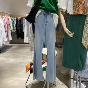 春款女装2021年新款韩国高腰显瘦直筒裤女宽松浅蓝色毛边牛仔裤女